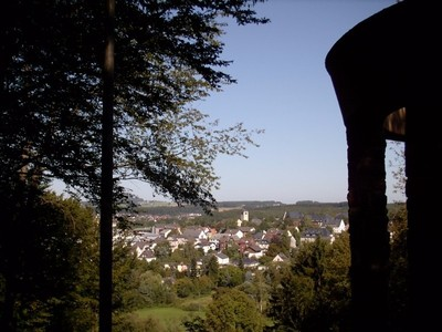 A view of the city from the war memorial on the hill