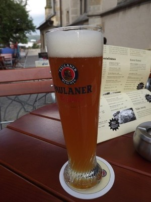 A beer at Paulaner's Pub at the walls of the church