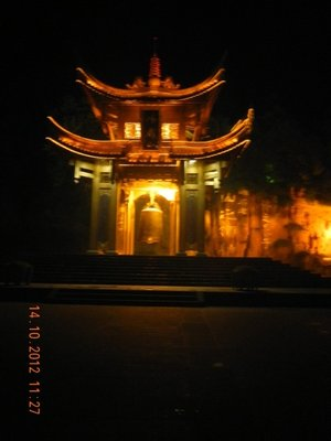 Illuminated Bell Tower in Emei Shan City