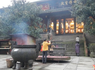 Emei Shan temple on the slope of the mountain