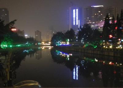 Chengdu, night scene along the river