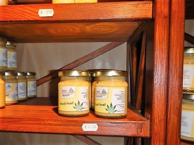 Germany - Harz - Quedlinburg, mustard shop selling a variety that makes you feel high
