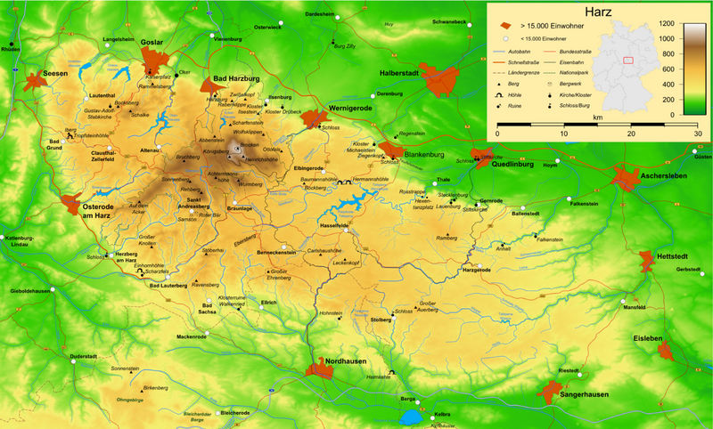Overview map Harz mountains, copyright Creative Commons Bamse-Wikipedia 2007 unchanged. Link https://nl.wikipedia.org/wiki/Harz_(gebergte)#/media/File:Harz_map.png