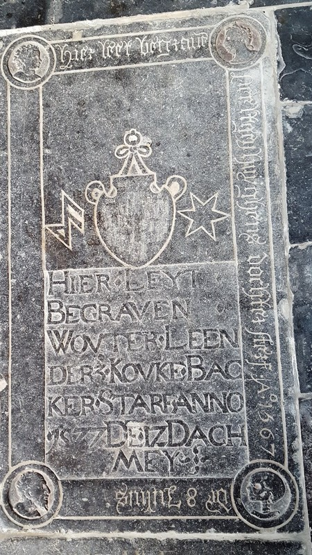 Netherlands, Gouda, St. John's church - Among all the dignitaries, here rests a cookie-baker (koekenbakker, nowadays a somewhat pejorative word)