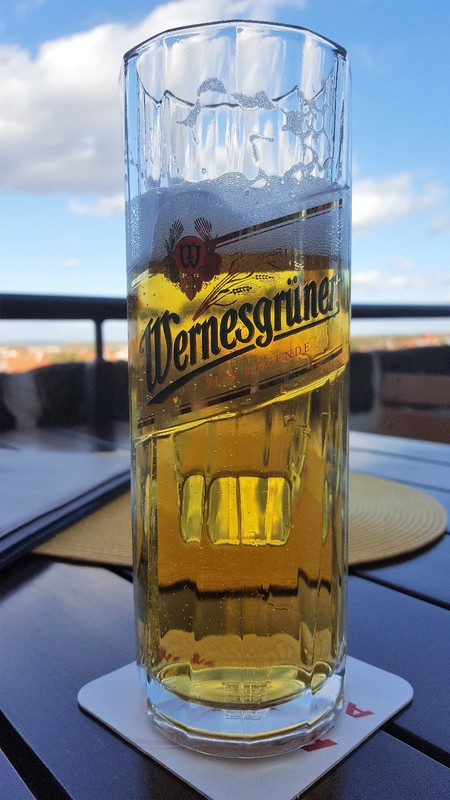 Germany - Harz - Quedlinburg, beer with a view at castle hill
