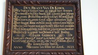 Netherlands, Gouda, St. John's church, a plaque, commemorating the devastating fire of Gouda in 1552 and the reconstruction that finished in 1623.