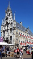 Netherlands, Gouda, the proud city hall in the middle of the market square, now used mostly for ceremonies