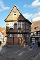 Germany - Harz - Quedlinburg, fachwerk house on way to castle hill