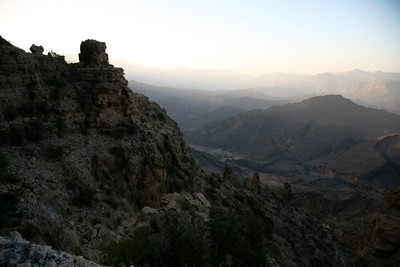 Ascending to Jabal Shams at dusk...