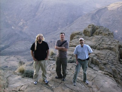John, Mark and Vance on top of a Jebel beyond Snake Gorge - thanks, Naseeb!