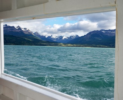 Window view of the Patagonia fjords
