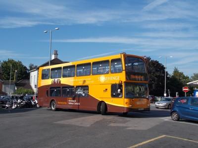 SALISBURY.  Bus for Stonehenge at rail station.