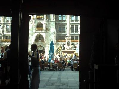 MUNICH  GERMANY,,  -   Inside  restaurant looking  out. to  Marienplatz.