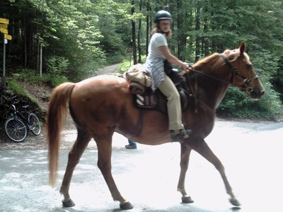 SCHLOSS  NEUSCHWANSTEIN  GERMANY..   These  horse  riders were  seen  on  walk  up  to  Castle.