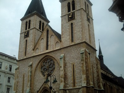 SARAJEVO.   Sacred  Heart  Cathedral  in  a  small  square,,  largest  cathedral  in  Bosnia.  It  is  the  seat  of  Archbishop.