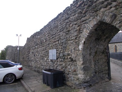 BANGOR  WALES. Archway to car park near church.