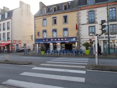 QUIMPER,  FRANCE..  I stayed here.--Le Derby Hotel.  as Bar and Terrace.