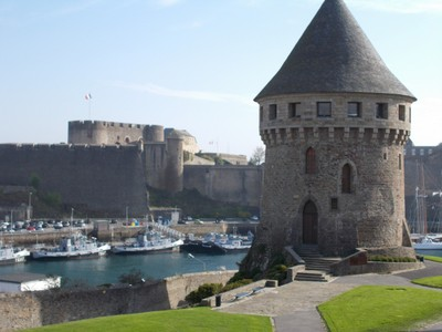 BREST,  FRANCE.  Tanguy tower with the  castle across the river.
