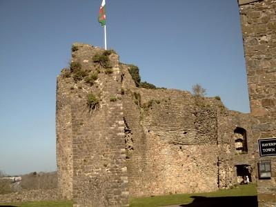 HAVERFORDWEST.  WALES.    -- Castle.   Welsh  flag on  top.