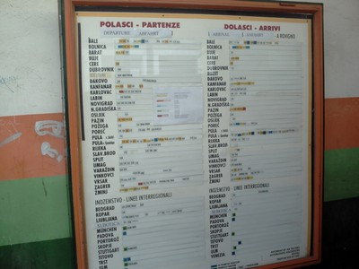PULA  CROATIA.  Timetable  at  bus  station.