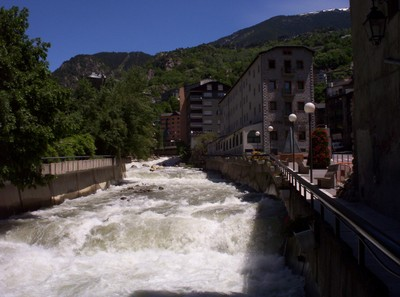 LA VELLE,  ANDORRA  ..River Valira through the  middle of  town.