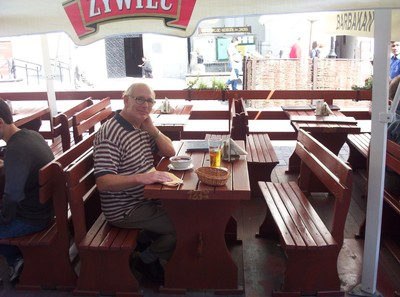 WARSAW  POLAND.   Street Cafe.  Beetroot Soup , Bread and a Beer.