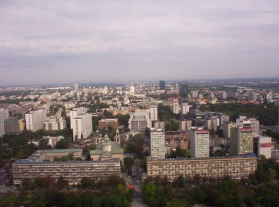 WARSAW POLAND.  View from top of Palace of Culture.