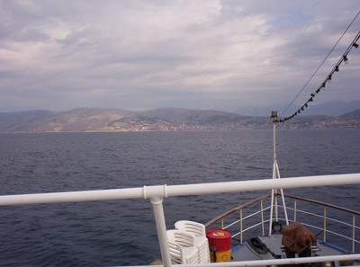 ALBANIA FROM FERRY ON IONIAN SEA.