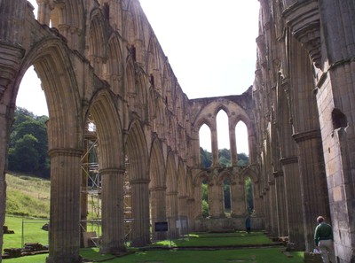 RIEVAULX  ABBEY. -- Inside  ruin,-- Abbey dismantled by King Henry  V111. during the dissolution of the  Monastries.in 1538.