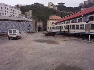 BASTIA CORSICA,.  Station Yard.  Trains arrive through the tunnel.