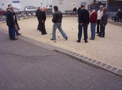 BASTIA CORSICA.   A game of Boule near rail station.