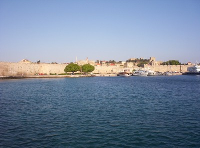 GREECE  RHODES.  First view of Rhodes Town Wall from Ferry.