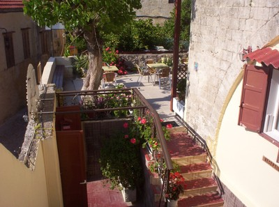 GREECE  RHODES.  Part of roof garden at Rooms.