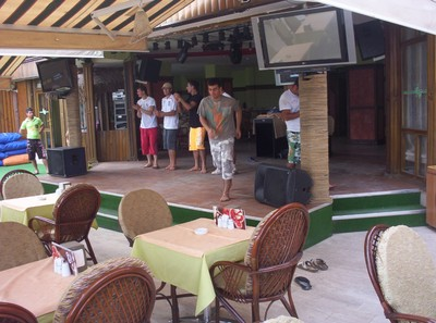 TURKEY  MARMARIS.    Waiters rehearsing in the afternoon,for evening show.