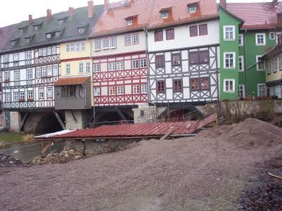 GERMANY  ERFURT.     The Kramerbrucke or Merchants Bridge., over the river Gera.