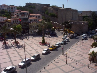 TURKEY,  CESME,       View from hotel room of Castle.
