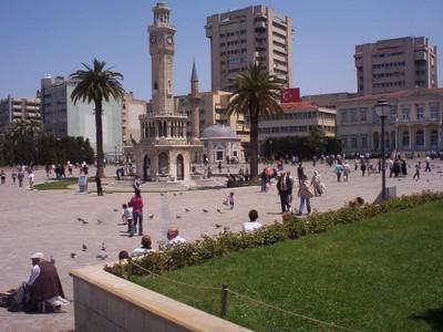 TURKEY  IZMIR.    Konak  Square,,Clock Tower and Yali Mosque.