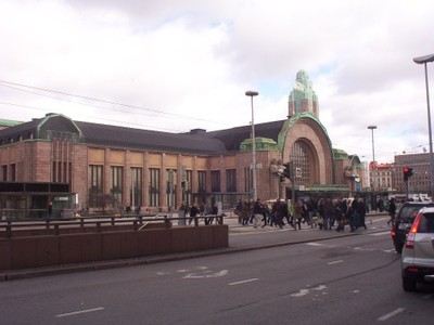 HELSINKI  FINLAND . Railway station front.