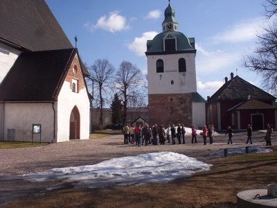 PORVOO  FINLAND .Cathedral and Bell tower.  Bell Tower built around 1414.
