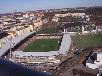 HELSINKI FINLAND.   View from tower at the old Olympic Stadium.