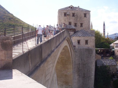 MOSTAR  BOSNIA  HERZEGOVINA.--Fortified tower  a  either  end.