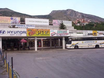 MOSTAR,  BOSNIA  HERZEGOVINA.    Bus  station,  near  rail  station.  I arrived  here on  second  visit, from Split  in  Croatia.