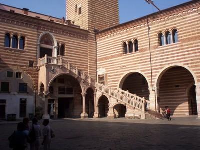 VERONA  ITALY.--- Base  of  Torre della  Lamberti  in Piazza dei Signori via della  Costa.