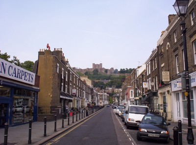 DOVER,  ENGLAND.,   Street with  Dover  Castle  on  the  hill.
