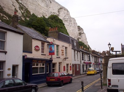 DOVER  ENGLAND.--  First  pub  has you  arrive  in  England  and  the  last  has  you  leave  England.    White  cliffs  of  Dover behind.