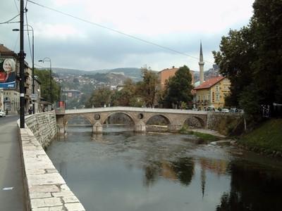 "SARAJEVO.   Latin  Bridge   "" Principov  Most "",, assassnation in June  1914, by  Princip, of Archduke Franz Ferdiand,  which  lead  to  WW1,took  place  near  end  of  bridge."