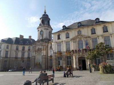 "RENNES,  FRANCE.    City Hall in Place de i""hotel  de ville."
