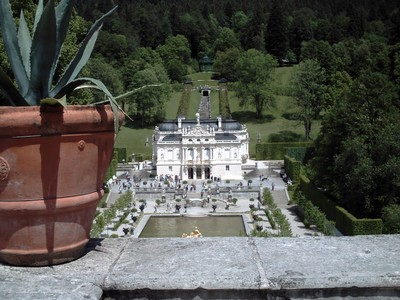 LINDERHOF,  GERMANY  --  Schloss  Linderhof..Palace  of  Ludwig  11.   Finished  in 1878., on  a  steep  hillside.