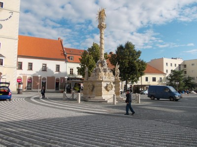 TRNAVA,,  SLOVAKIA.  --- Baroque  sculpture  from  1695.   Four  corners  statues of  St. Florian,  St Agatha, St. Anthony and  St. Francis-Xaverius..
