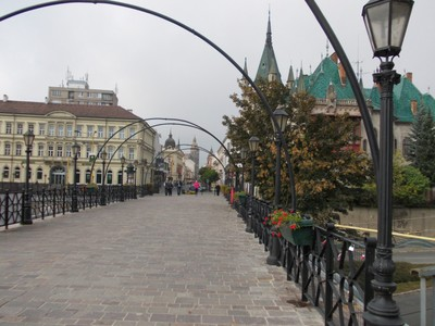 KOSICE. Bridge from rail station area.